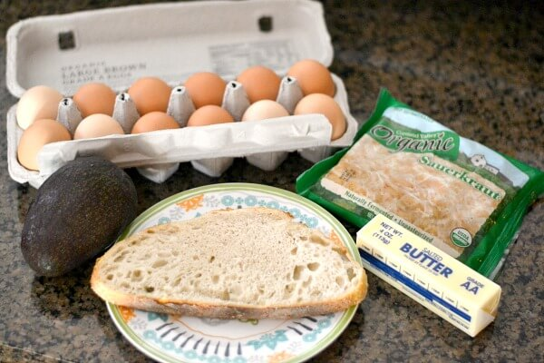 Avocado, Sauerkraut and Scrambled Egg Toast Ingredients