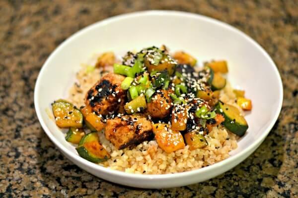 Blue Apron Hoisin Meatballs over cauliflower rice