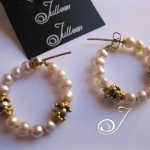 Pink Pearl Hoop Earrings