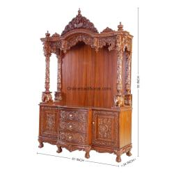 Traditional Teak Wooden Templemandir for Home in India Pearl