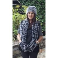 Large rabbit fur scarf for women.