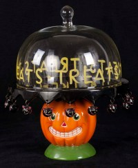 Dept 56 Halloween Vintage Pumpkin Black Cats Footed ...