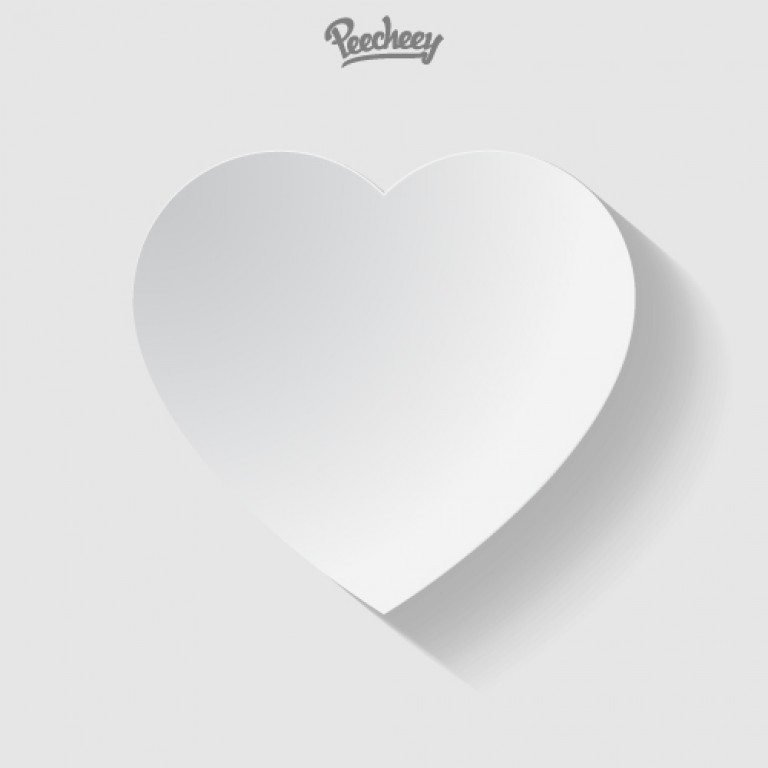 White paper heart with the long shadow Peecheey