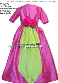 Cerise Hot Pink and Lime Flower Girl Dress or Jr ...