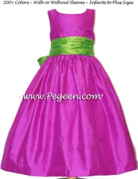 Fuchsia and Key Lime Flower Girl Dresses Classic Style 388