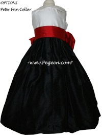 Red and Black Silk Flower Girl Dresses with Peter Pan