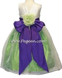 Lime green and purple silk flower girl dresses