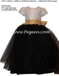 Black, Gold and New Ivory Tulle Custom Flower Girl Dresses ...