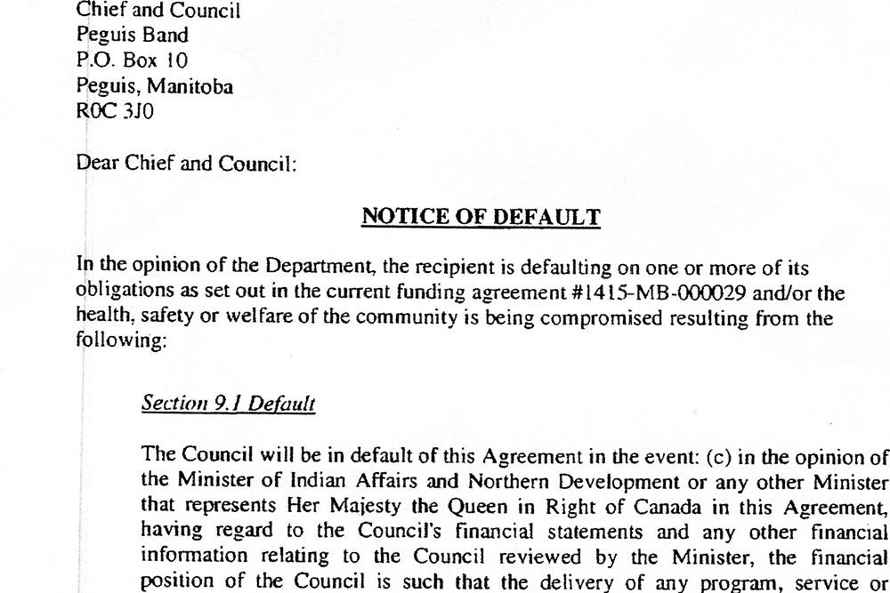 Notice of Default Letter - Peguis First Nation - notice letter