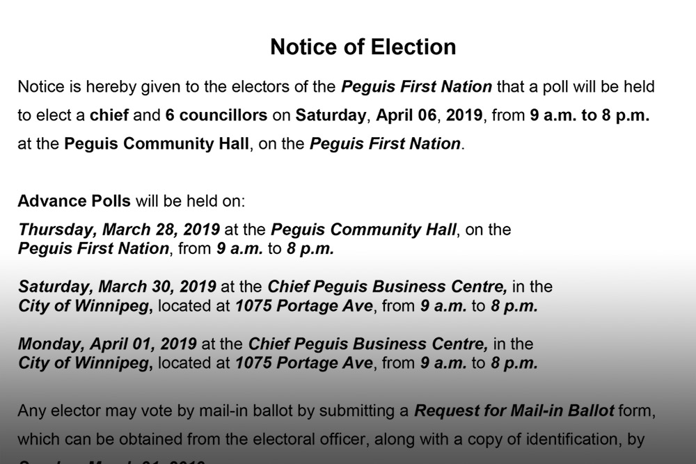 Notice of Election - Peguis First Nation