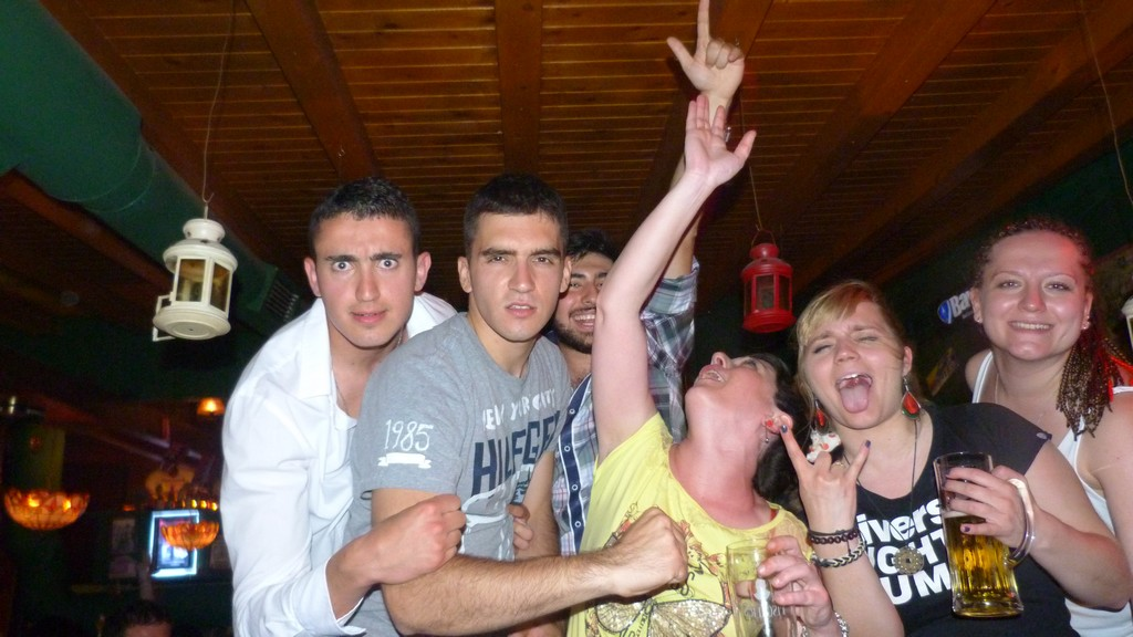 """In the """"Checkpoint Charlie"""" club in Tirana, having fun after the hard working days"""