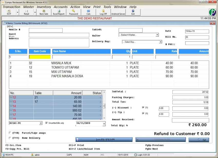 Restaurant Billing Software with Inventory - GST Ready
