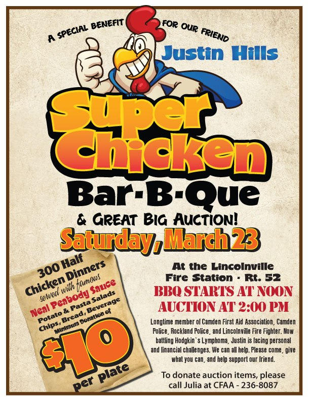 More than 90 auction items donated for Justin Hills fundraiser - bbq benefit flyers
