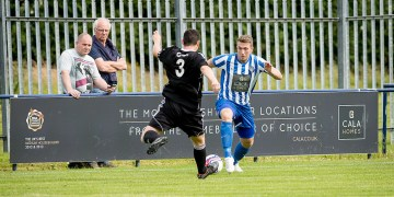 Penicuik Athletic during their Super league opener against Broxburn which ended in a two each draw.  © Wullie Marr/HPR