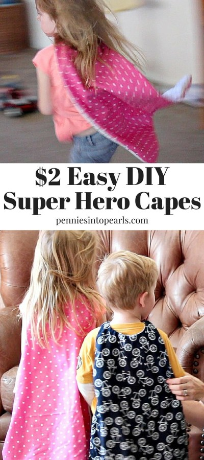 Perfect craft for kids! Learn how to make this super easy DIY super hero cape for less than $2 each and in under 10 minutes! These super hero capes are the perfect DIY halloween costume or diy dress ups.