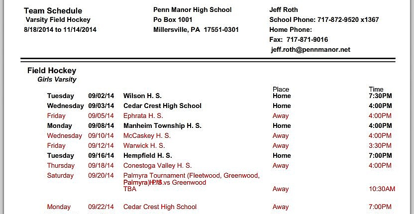 Printable athletic schedules now available \u2013 Penn Manor School District