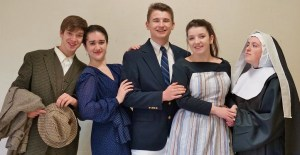 """Alyssa Crook, second from left, and Abby Geiger, second from right, have been honored for their acting in """"The Sound of Music."""" They are pictured with fellow cast members, from left, Paul Harrold, Alex Davis and Haley Hoffer."""