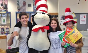 Serteen members, from left, Steve Fafel, Claudia Potter and Kelsey Bricker get ready for the Readathon.