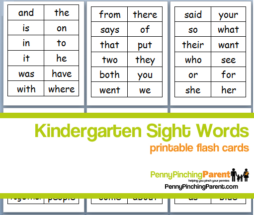 PPP Pick Printable Kindergarten Sight Word Flash Cards - flash cards words