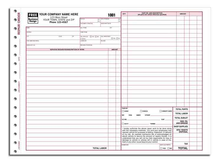 6581 aka 6581-3 Garage Repair Order Form - Carbonless - repair order form