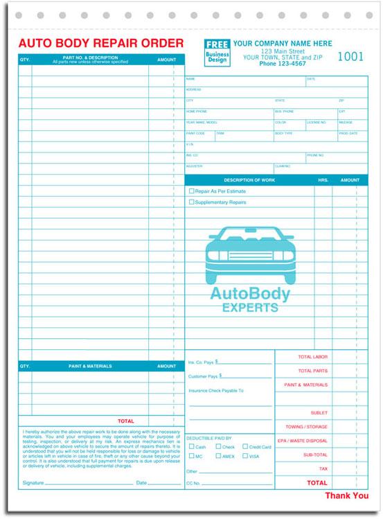 6597 aka 6597-3 Autobody Repair Order Form - Carbonless