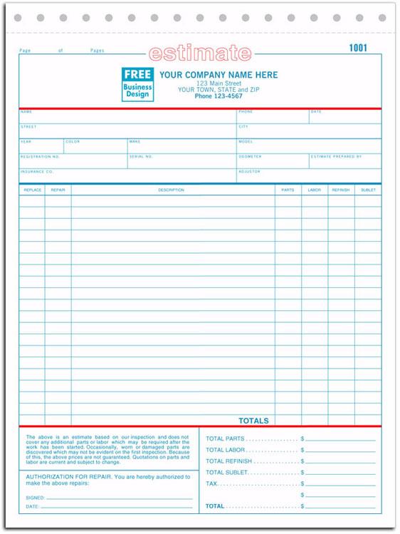 660 aka 660-2, 660-3 Auto Repair Estimate Form - Carbonless