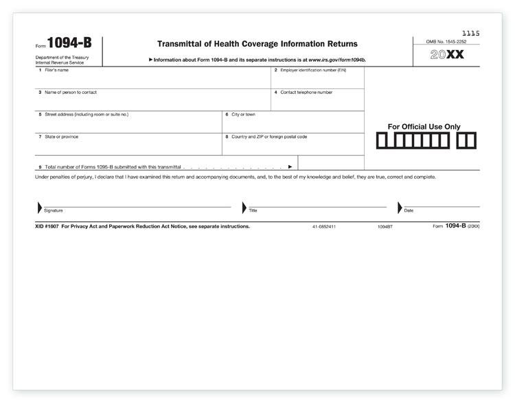 TF5400, 1094B aka B1094B05 Laser Transmittal Health Coverage Form