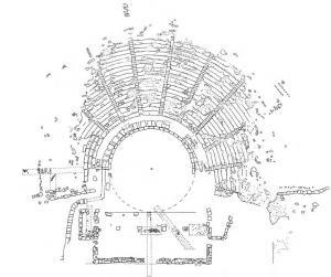Σχεδιαστική αποτύπωση του θεάτρου των Οινιάδων