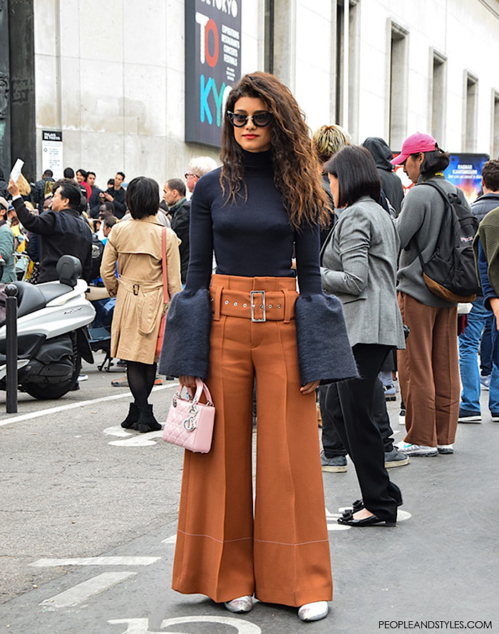 Celine Street Style Look: Rust Color Wide Leg Trousers and Bell Sleeve Turtleneck