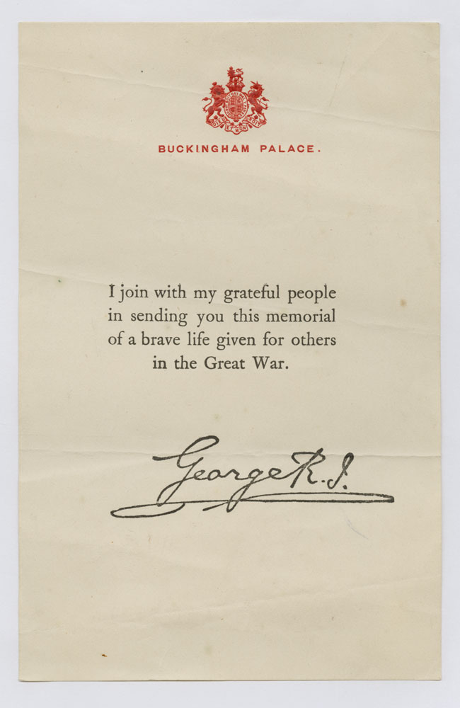 WW1 condolence letter from Buckingham Palace