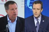 Incumbent Gov. John Kasich (left) and his imploding Democratic opponent, Cuyahoga County (Cleveland) Executive Ed FitzGerald (right).