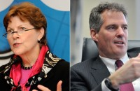 Incumbent Democrat Jeanne Shaheen (left) and her likely Republican challenger and former MA senator Scott Brown (right) will face off in the New Hampshire race.