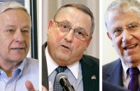Incumbent Republican Gov. Paul LePage (center), Democrat Mike Michaud (left), and independent Eliot Cutler (right) vie for top spot in Maine governor race.