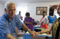 Former Florida  Gov. Charlie Crist, a Republican turned-independent-turned-Democrat, makes a campaign stop in Boynton Beach, Florida on Aug. 26, 2014. Crist became the first candidate to win both party primaries Tuesday. (Photo: AP)