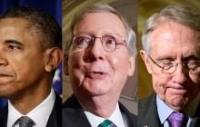 President Barack Obama, left, Senate Minority Leader Sen. Mitch McConnell (R-KY), center, and Majority Leader Harry Reid (R-NV), right. (AP Photo/Manuel Balce Ceneta)