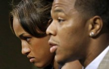 May 23, 2014: In this file photo, Janay Rice, left, looks on as her husband, Baltimore Ravens running back Ray Rice, speaks to the media during an news conference in Owings Mills, Md. (Photo: AP)