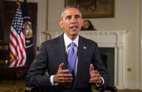 In his weekly address on October 18, 2014, President Obama told the American people not to give in to hysteria as he reaffirmed his opposition to a travel ban. (Photo: YouTube)