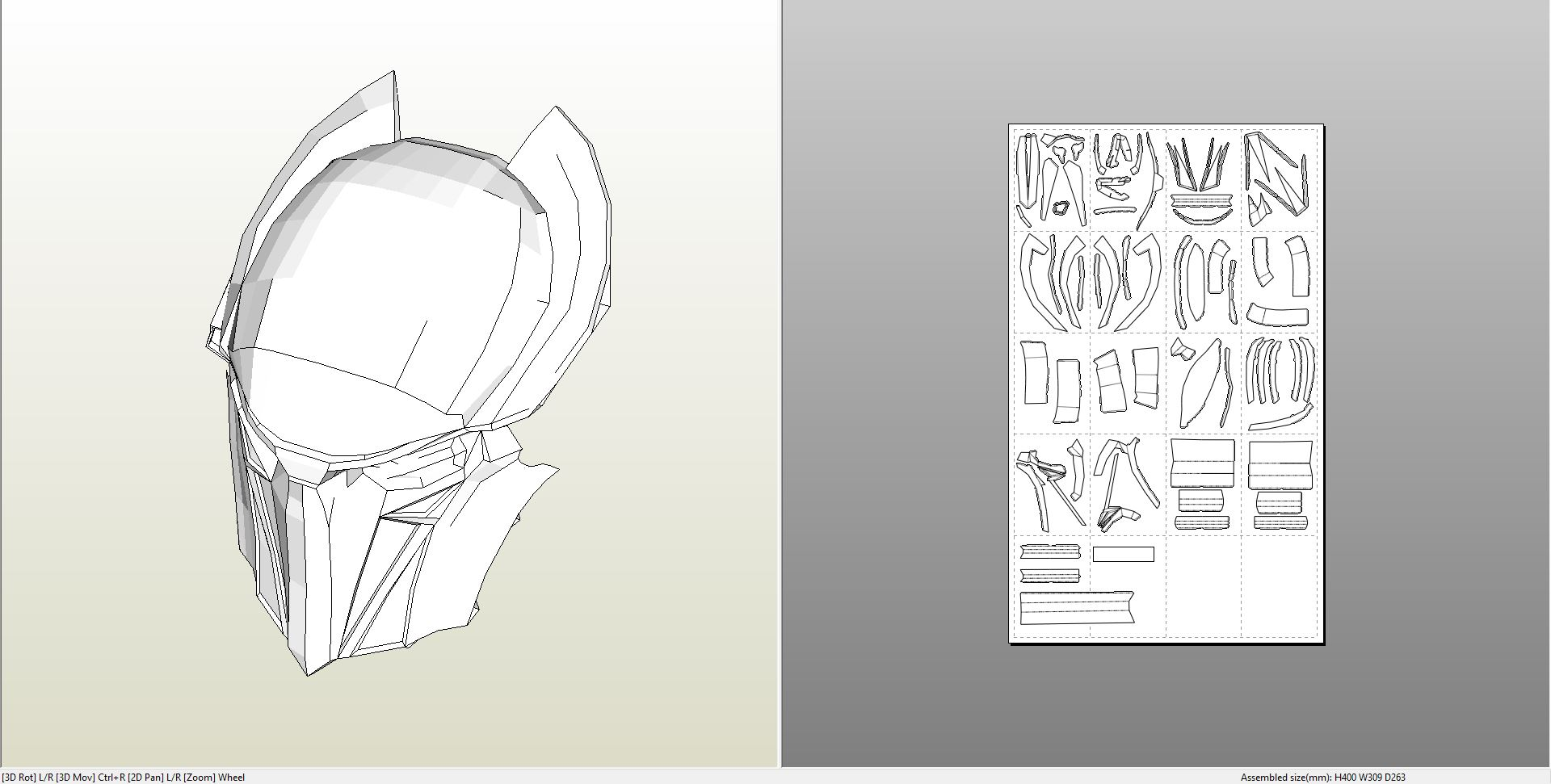 Papercraft Pdo File Template For Alien Falconer Mask