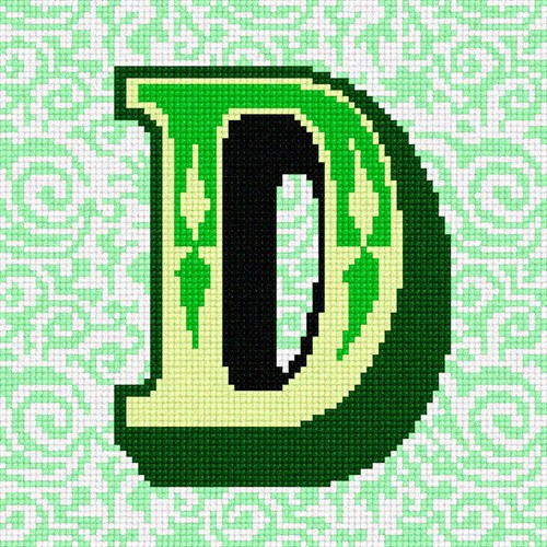 Needlepoint Canvas - The Letter D