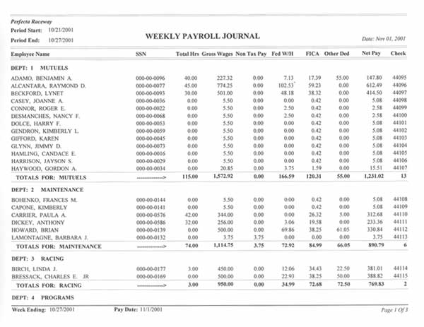 Perfecta Systems, Inc -Payroll - Weekly Payroll Journal Sample - sample pay roll