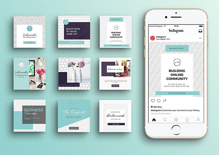 Geometric Instagram Templates - Perfectory Web Design Services