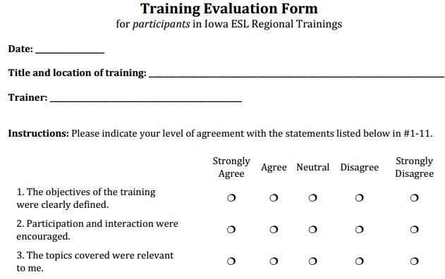 Doc#600630 Training Evaluation Form u2013 Training Evaluation Form - training survey template