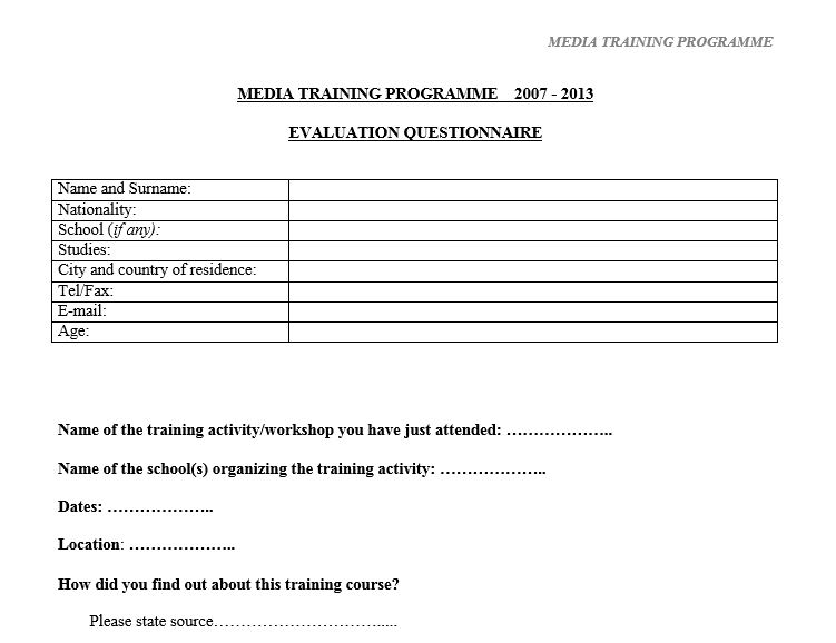 Performance Magazine Training-Evaluation-Survey-Media-Programme