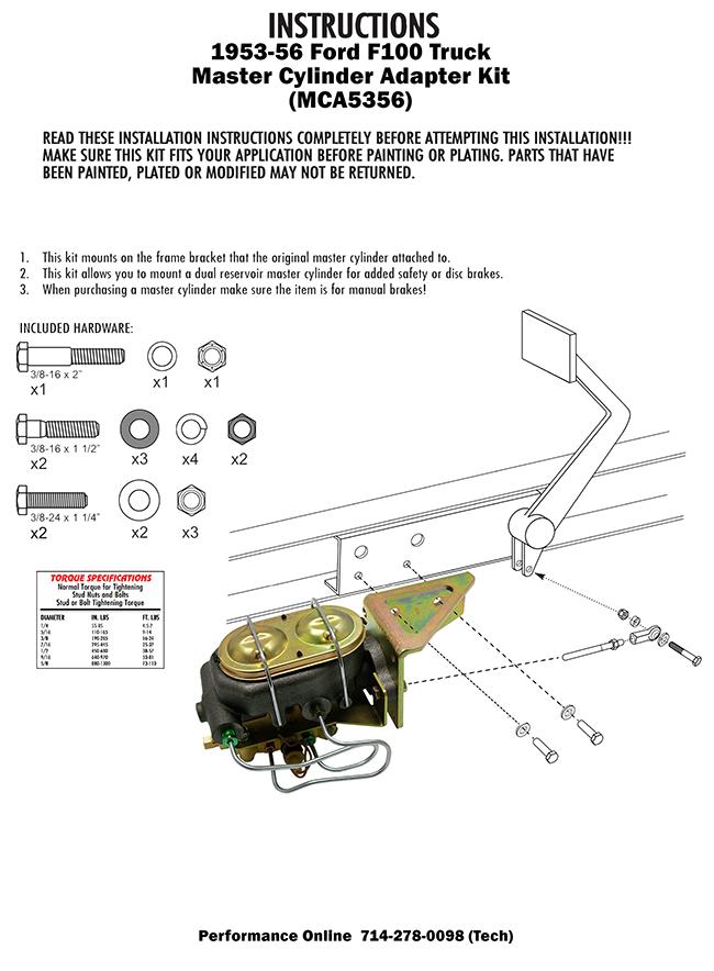 1953-56 Ford F-100 Truck Manual Master Cylinder kit, Disc Brakes