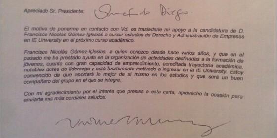 García-Legaz envió una carta de recomendación del \