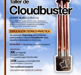 Cartel del taller de Cloudbuster con una imagen de un cloudbuster