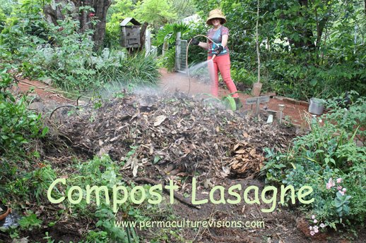 Making a compost lasagne