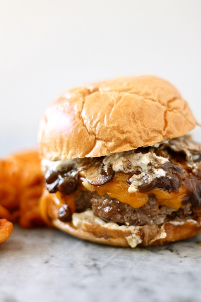 Meatloaf Burger with Onions, Mushrooms, and Gravy