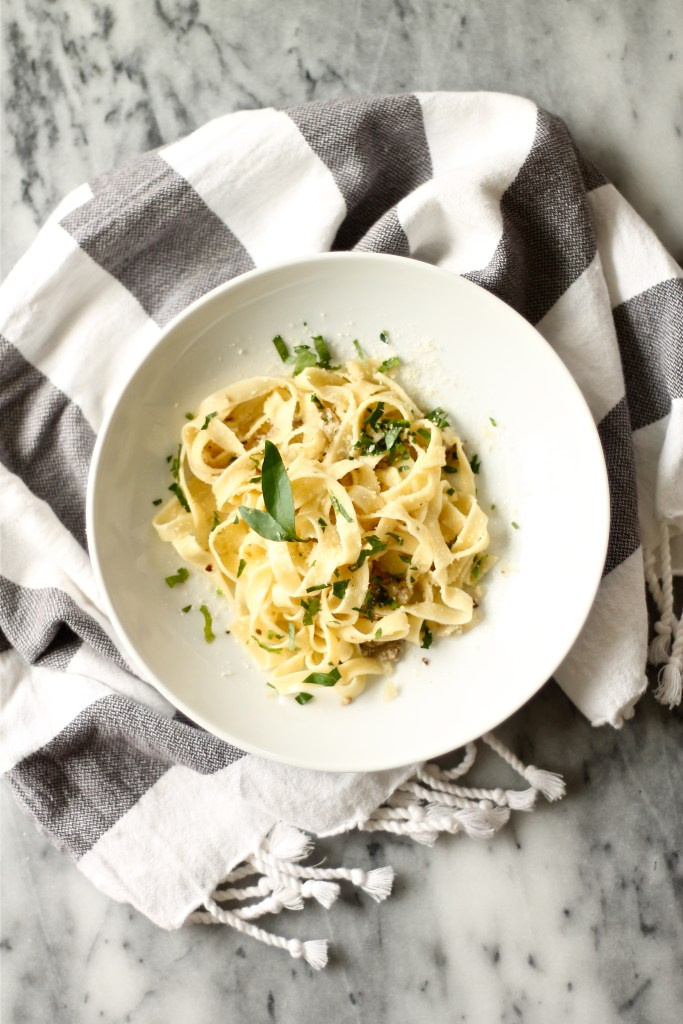 Homemade Pasta with Parsley and Mushrooms