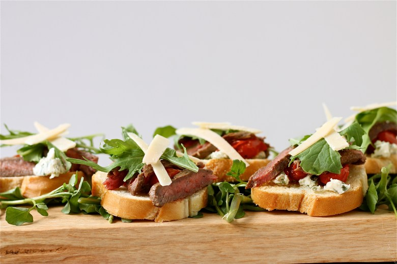 Steak and Roasted Tomato Bruschetta